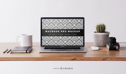 Macbook desk mockup composition