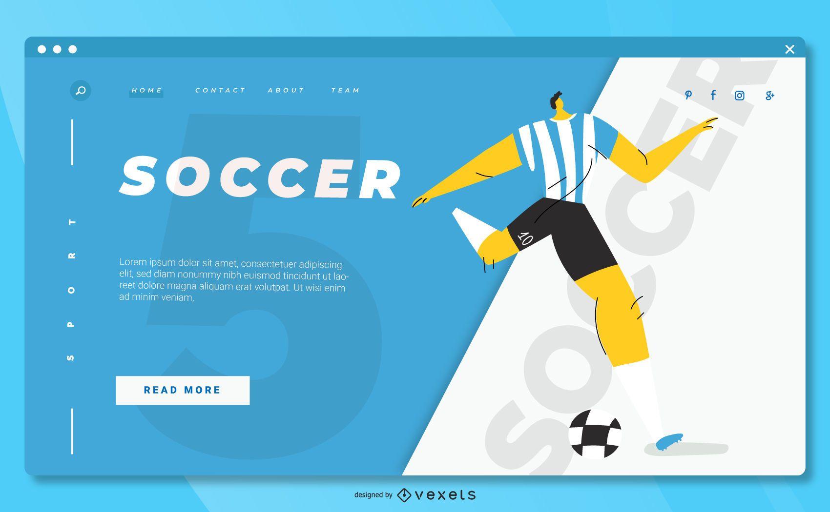 Design da página de destino do esporte de futebol