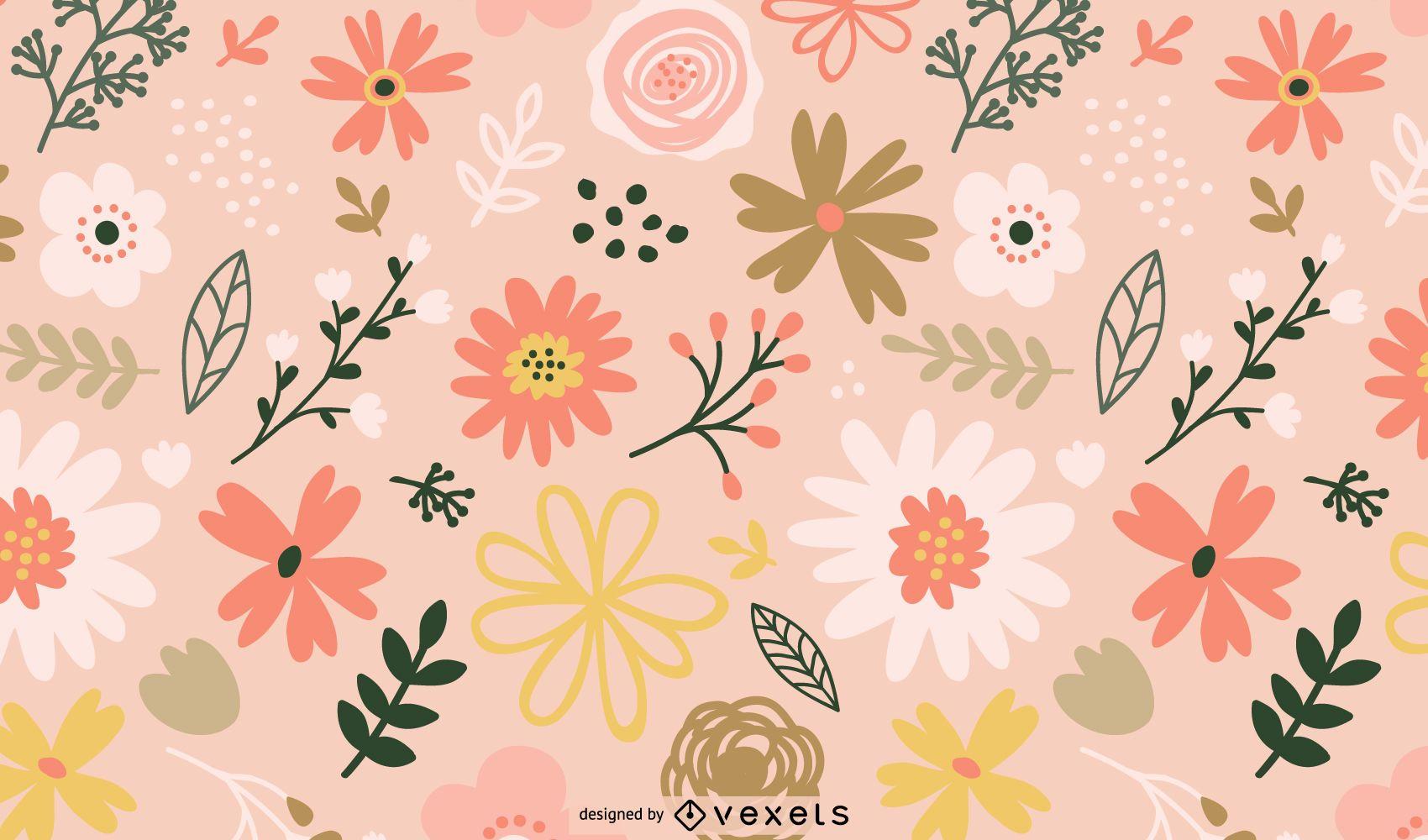 Spring flowers pattern design
