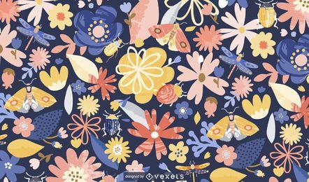 Diseño de patrón de flores de primavera