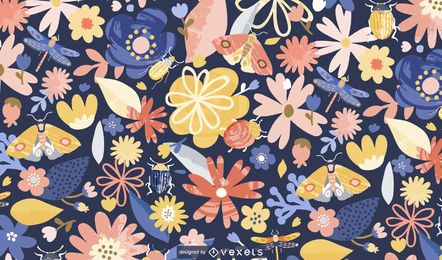 Springtime flowers pattern design