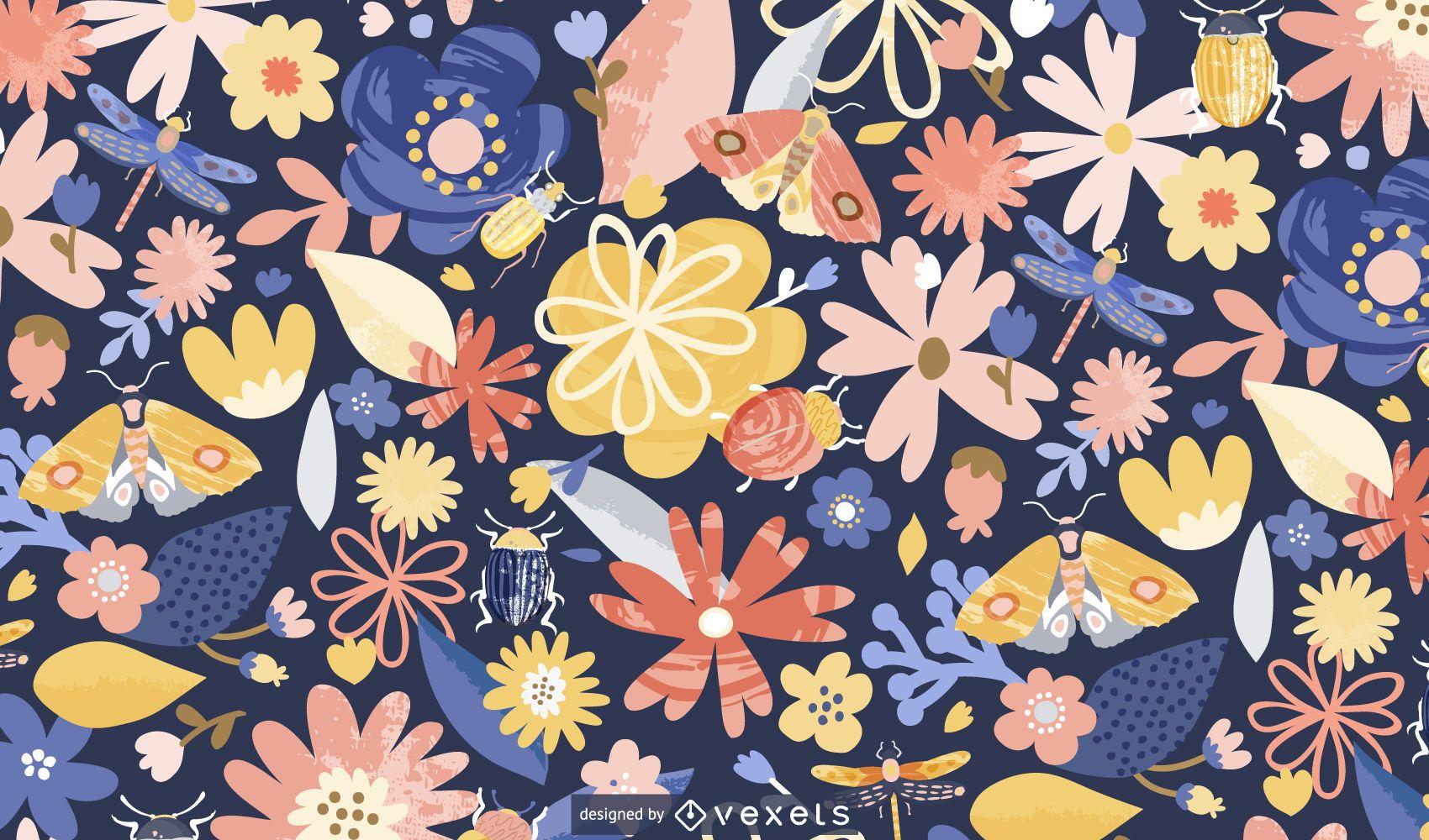 Springtime flowers pattern design