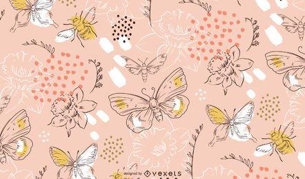 Frühlingsblumen und Schmetterlingsmuster