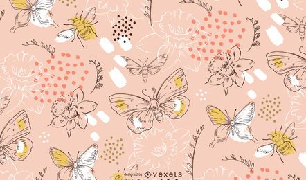 Padrão de flores e borboletas de primavera