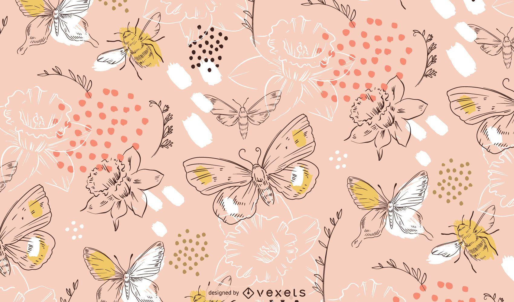 Patrón de flores y mariposas de primavera