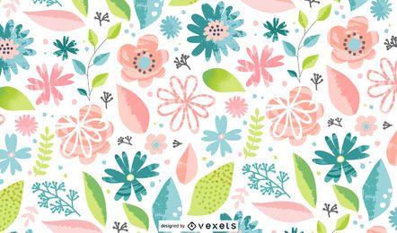 Primavera flores padrão colorido