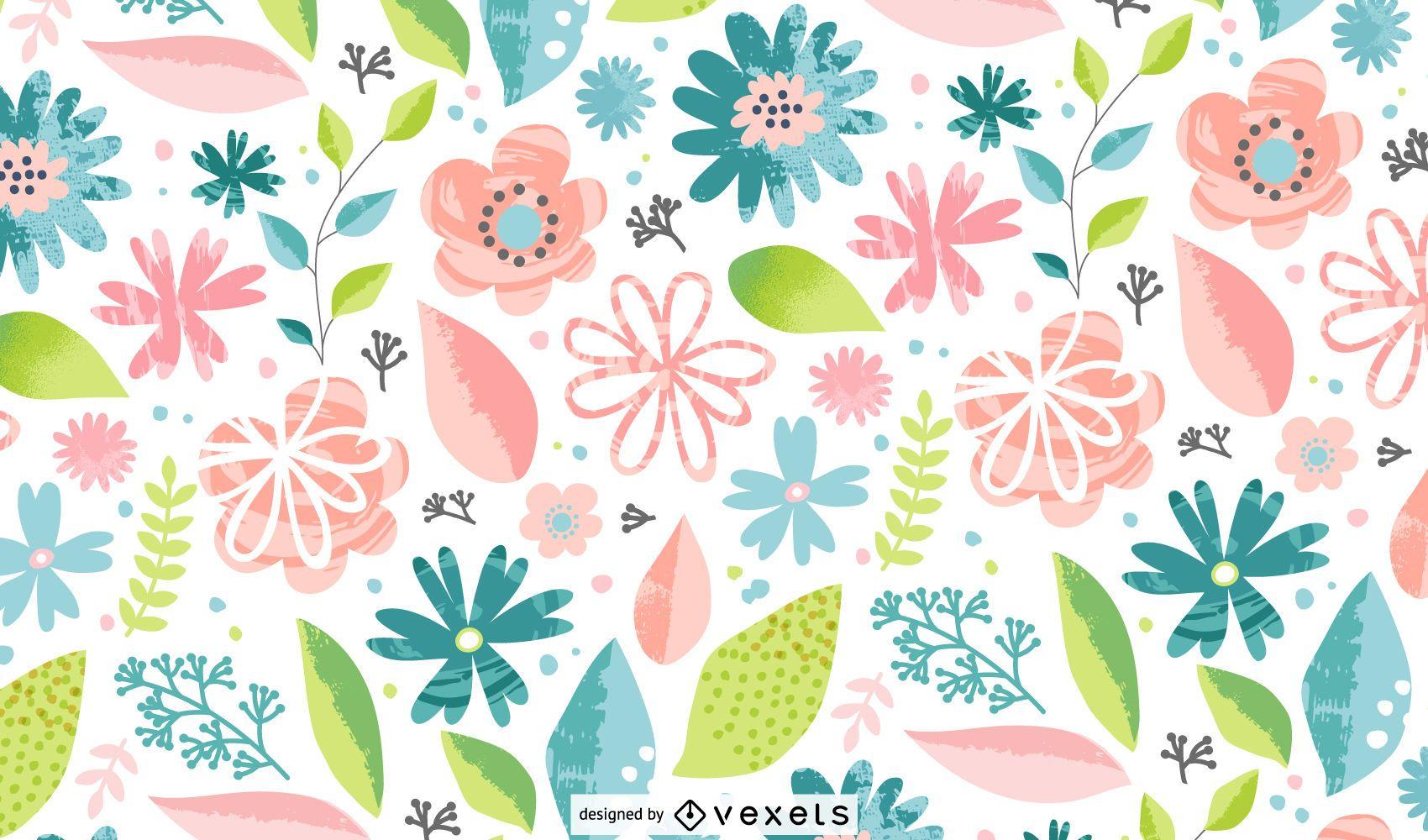 Padrão colorido de flores da primavera