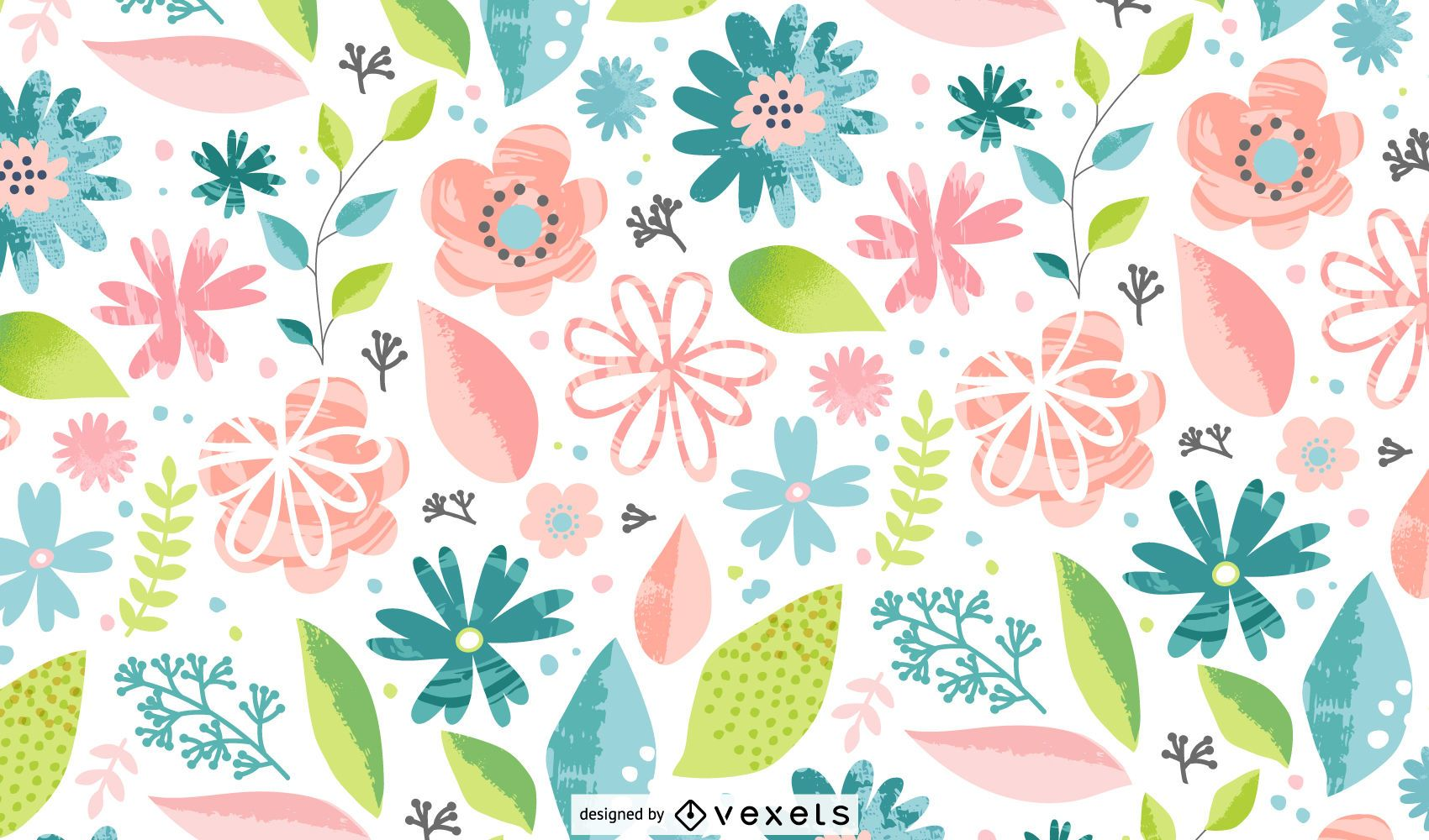 Spring flowers colorful pattern