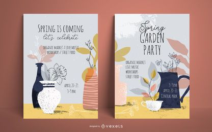 Conjunto de pôsteres de festa no jardim da primavera