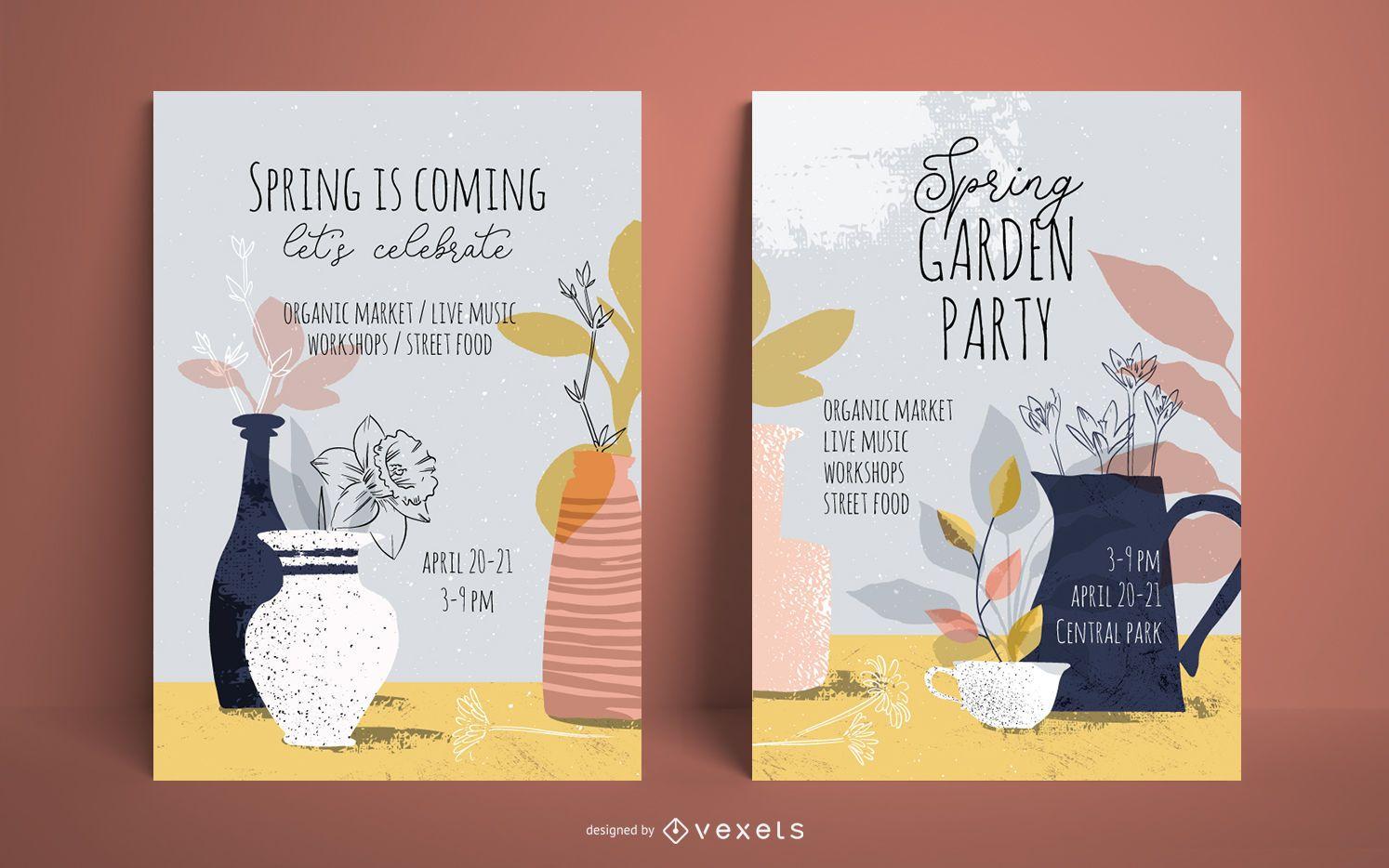 Conjunto de carteles de fiesta en el jardín de primavera