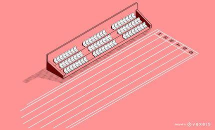 Diseño isométrico del estadio Sprint Track