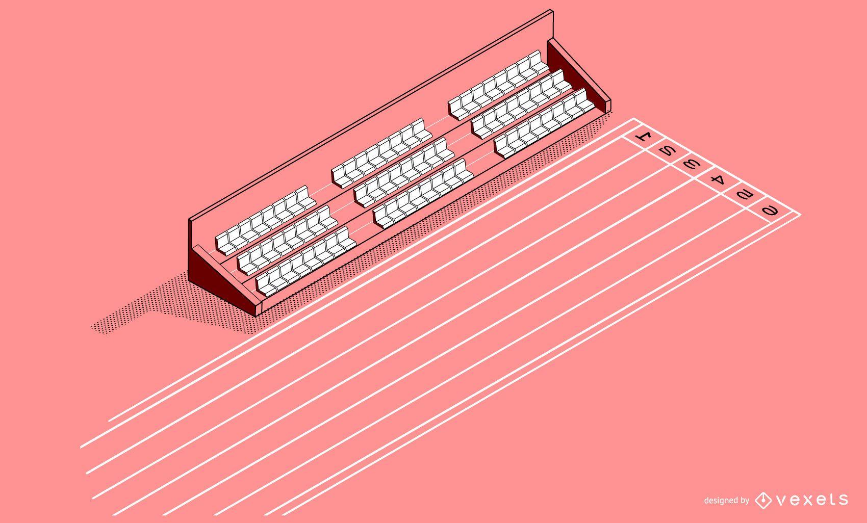 Isometric Sprint Track Stadium Design