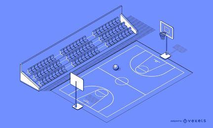 Projeto isométrico da quadra de basquete