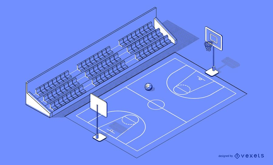 Diseño isométrico de cancha de baloncesto