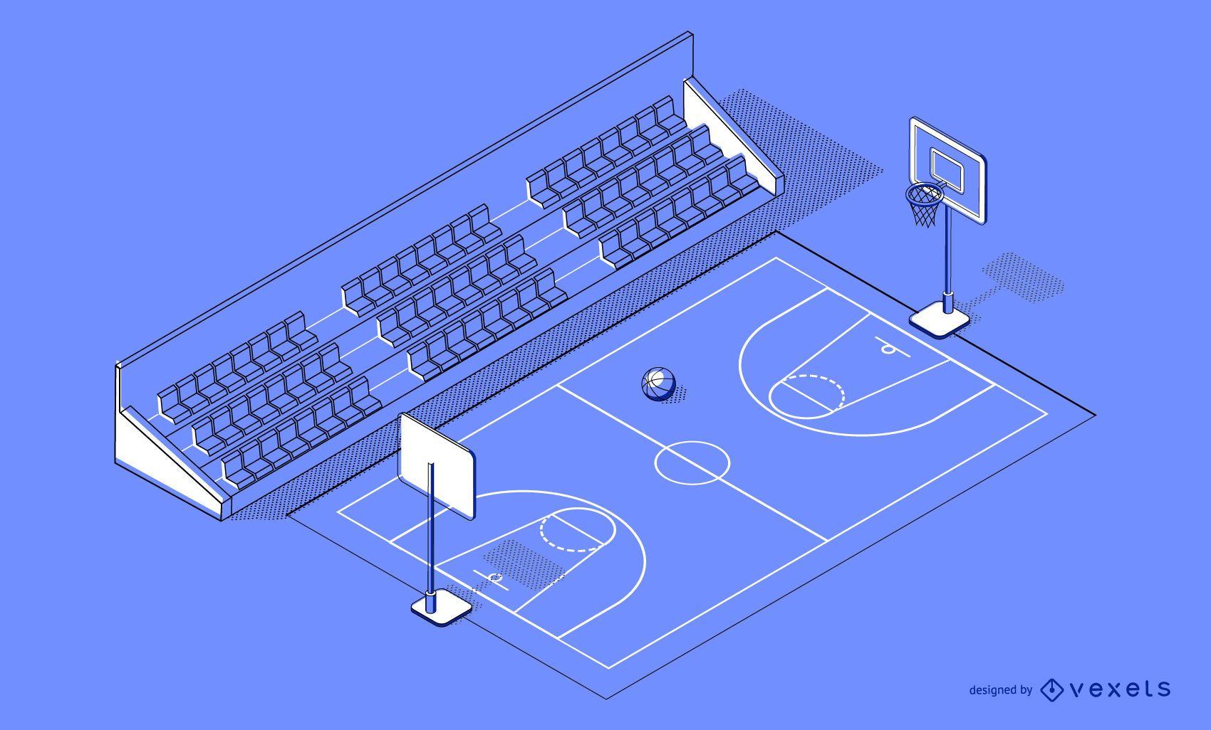 Diseño de cancha de baloncesto isométrica