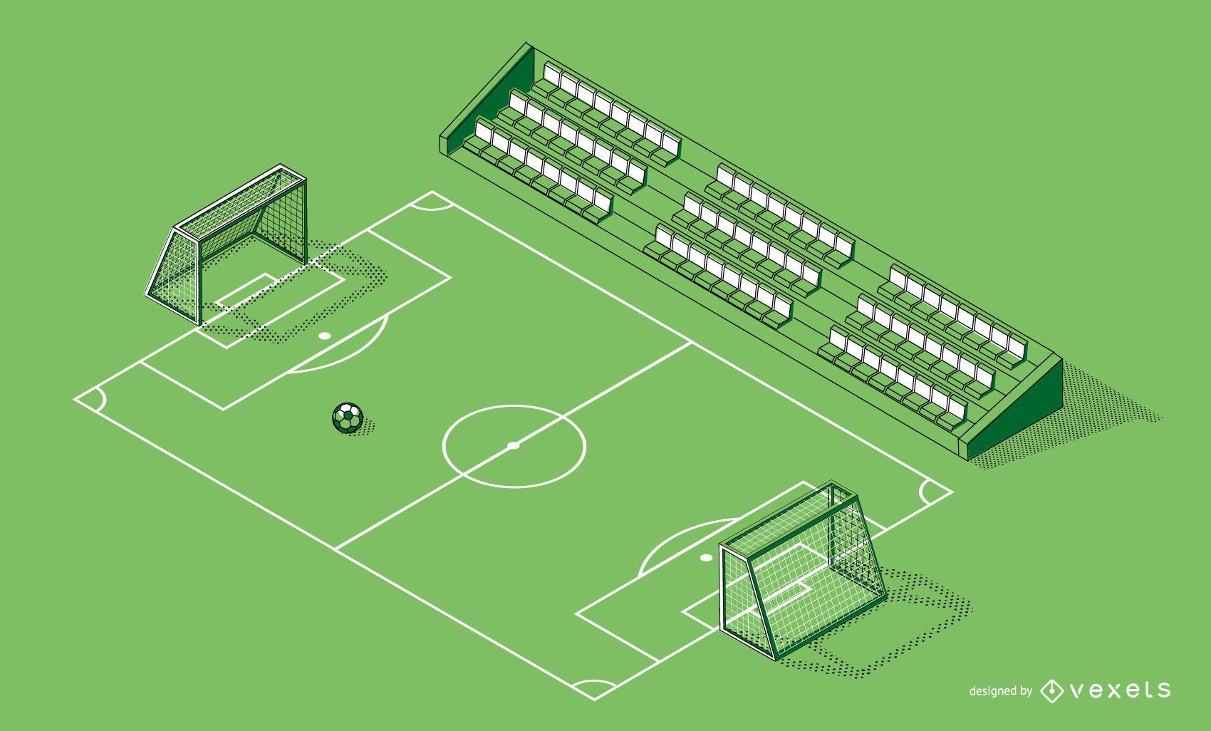 Diseño gráfico de campo de fútbol isométrico