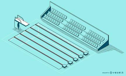 Projeto isométrico da piscina