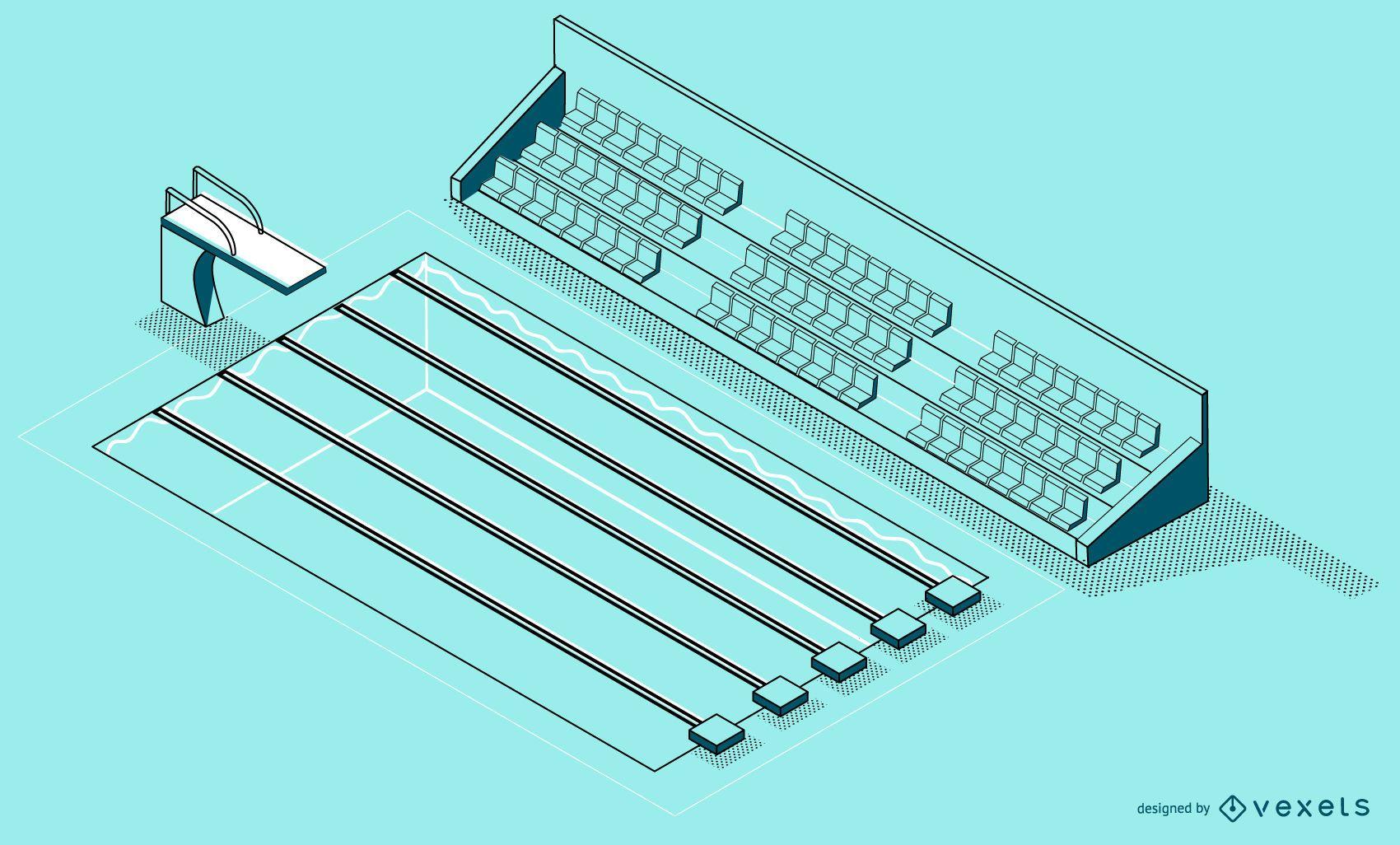 Diseño de piscina isométrica