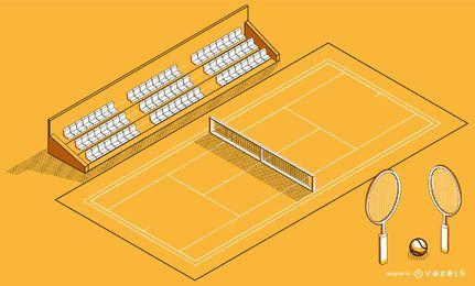 Diseño isométrico de cancha de tenis