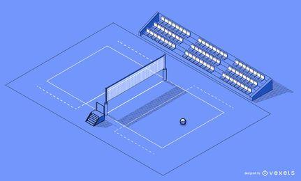 Diseño isométrico de cancha de voleibol