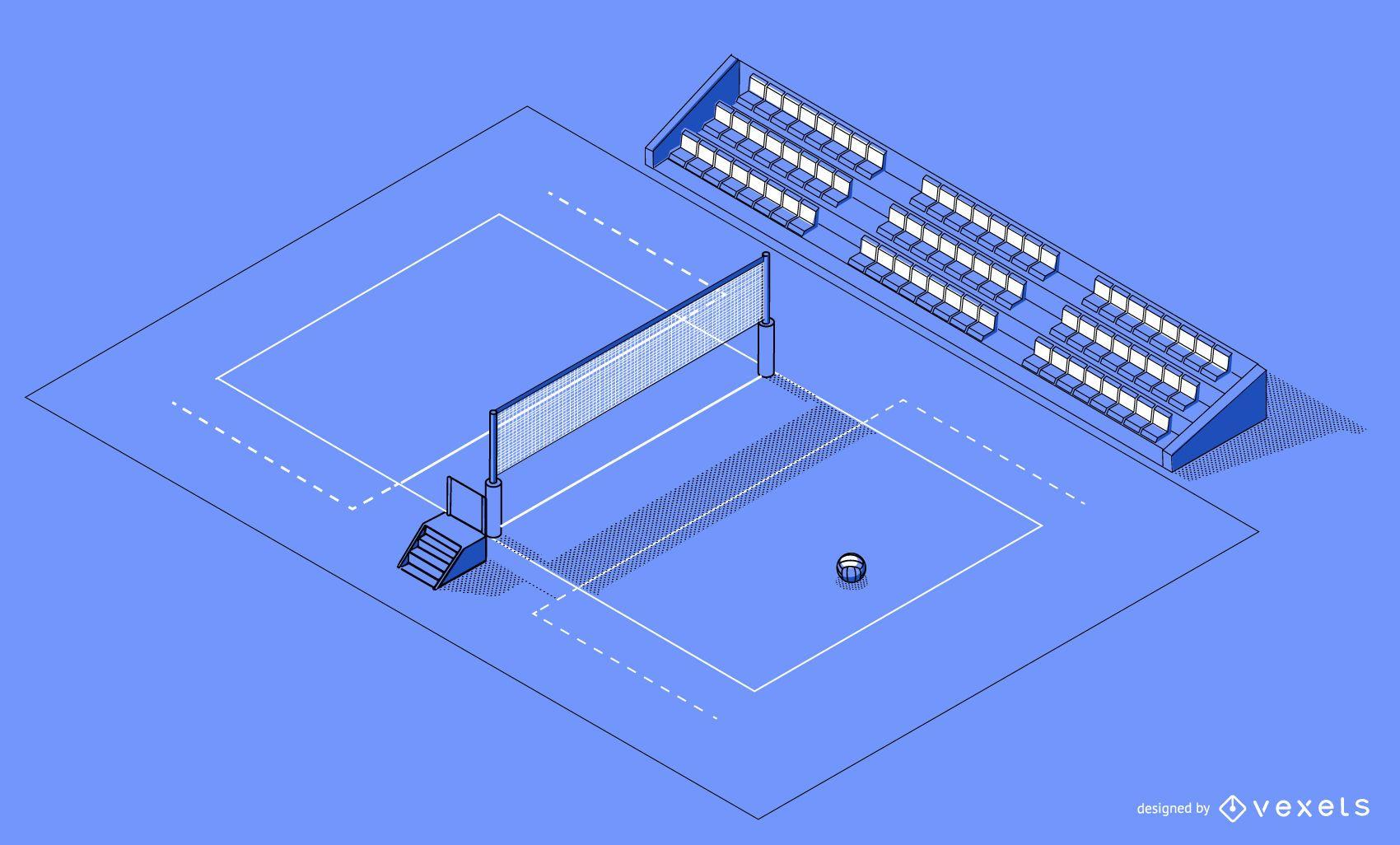 Diseño de cancha de voleibol isométrica