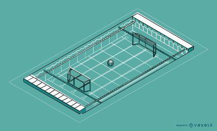 Diseño isométrico de piscina de waterpolo