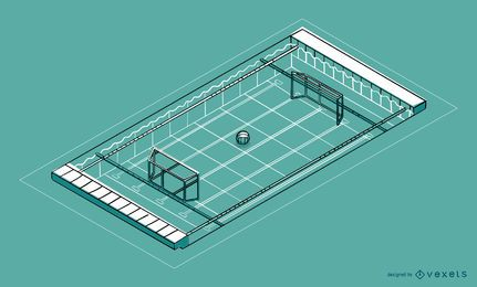 Projeto isométrico da piscina do polo aquático