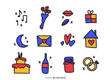 Elementos de amor de color Doodle Pack