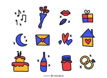 Paquete de Doodle de colores de elementos de amor