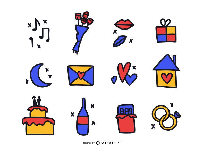 Love Elements Colored Doodle Pack