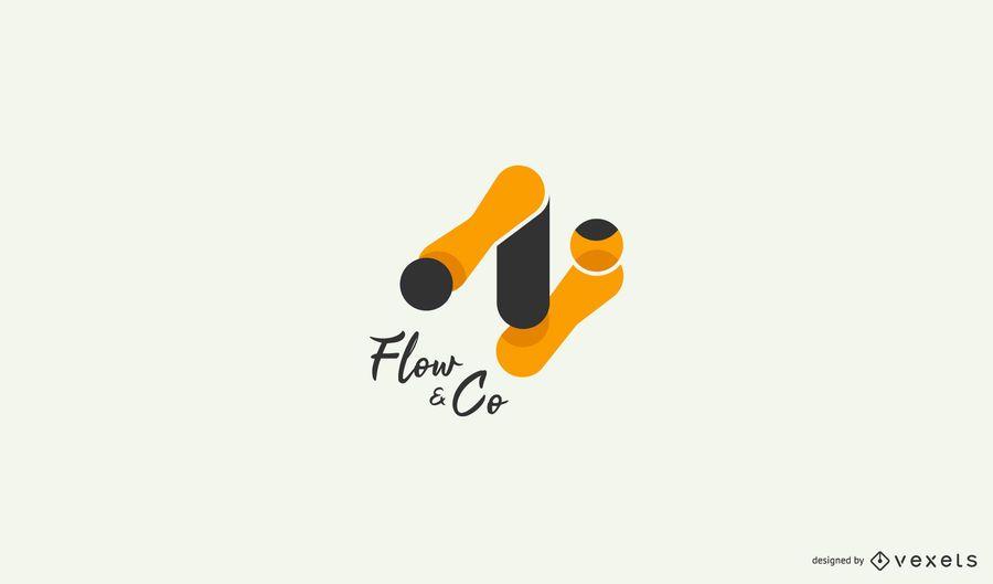 Plantilla de logotipo de flujo abstracto