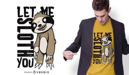 Design assustador do t-shirt da preguiça