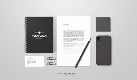 Design de maquete de papelaria de marca