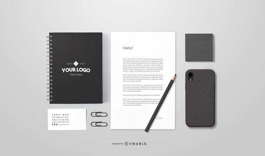 Diseño de maqueta de papelería de marca