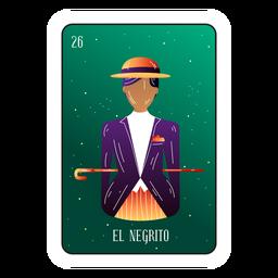 Cartão de loteria cavalheiro preto