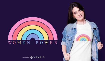 Diseño de camiseta women power rainbow