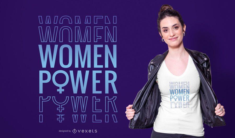 Diseño de camiseta de mujer poder