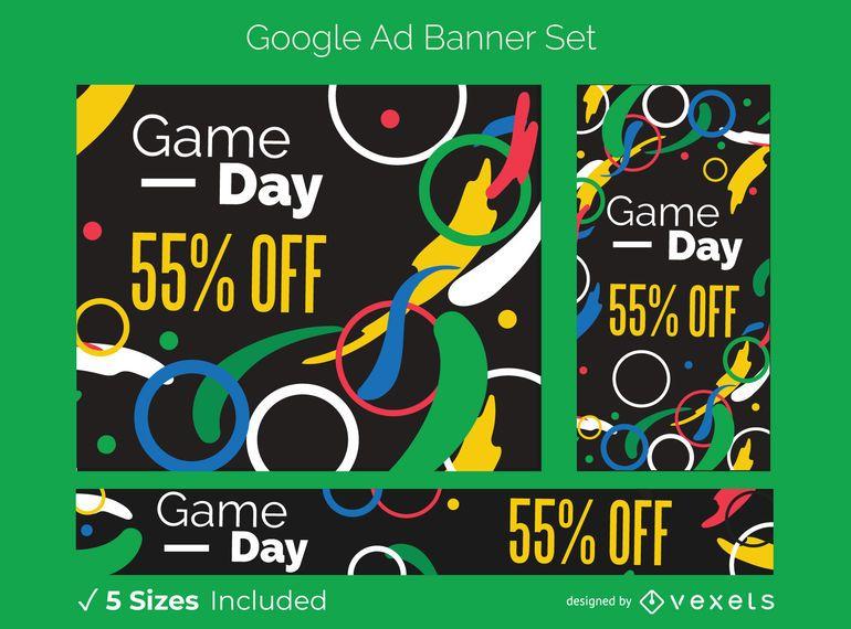 Conjunto de banners publicitarios de Google de los Juegos Olímpicos