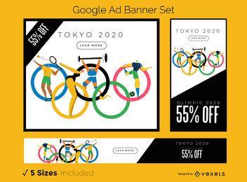 Conjunto de banners publicitarios de Google de Tokio 2020