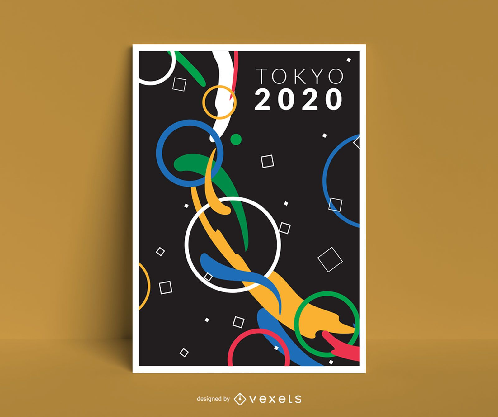 Diseño abstracto del cartel de Tokio 2020