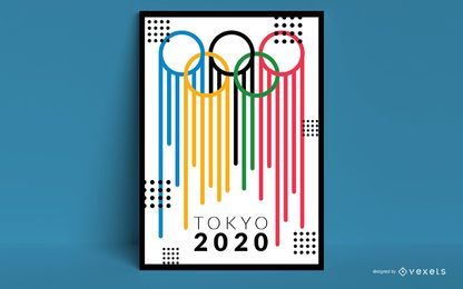 Diseño creativo del póster de los Juegos Olímpicos de Tokio 2020