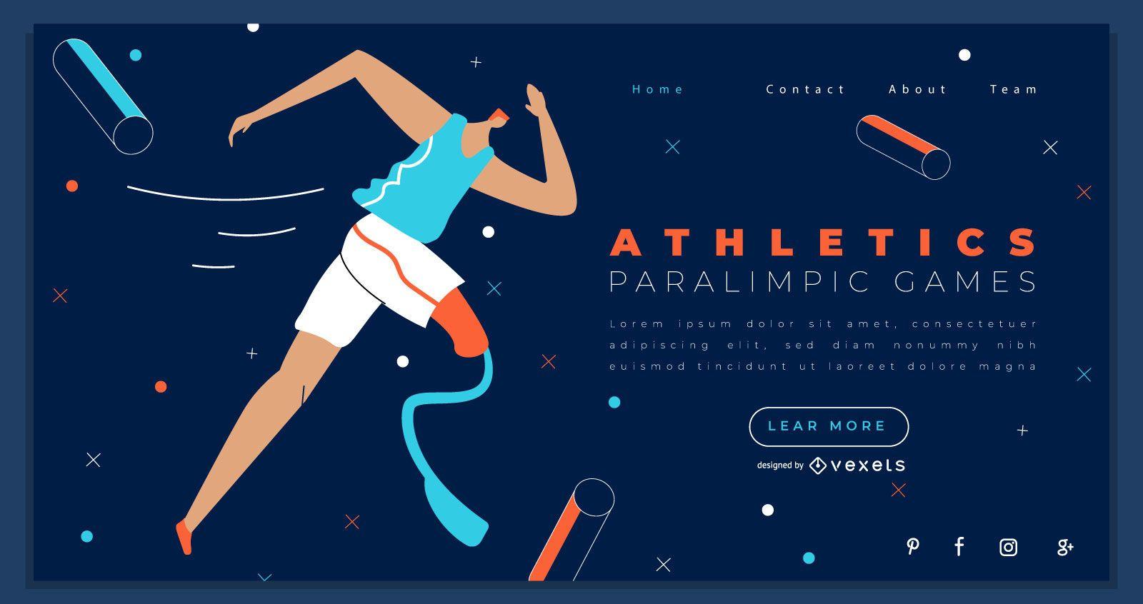 Design da página inicial dos Jogos Paralímpicos de Atletismo