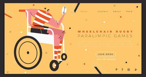 Design de página de destino de esportes de rugby em cadeira de rodas