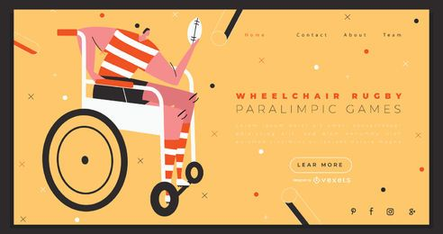 Diseño de página de aterrizaje de deportes de rugby en silla de ruedas