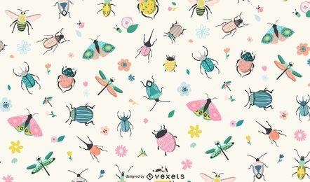 Frühling Insekten Musterdesign