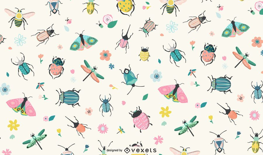 Spring insects pattern design