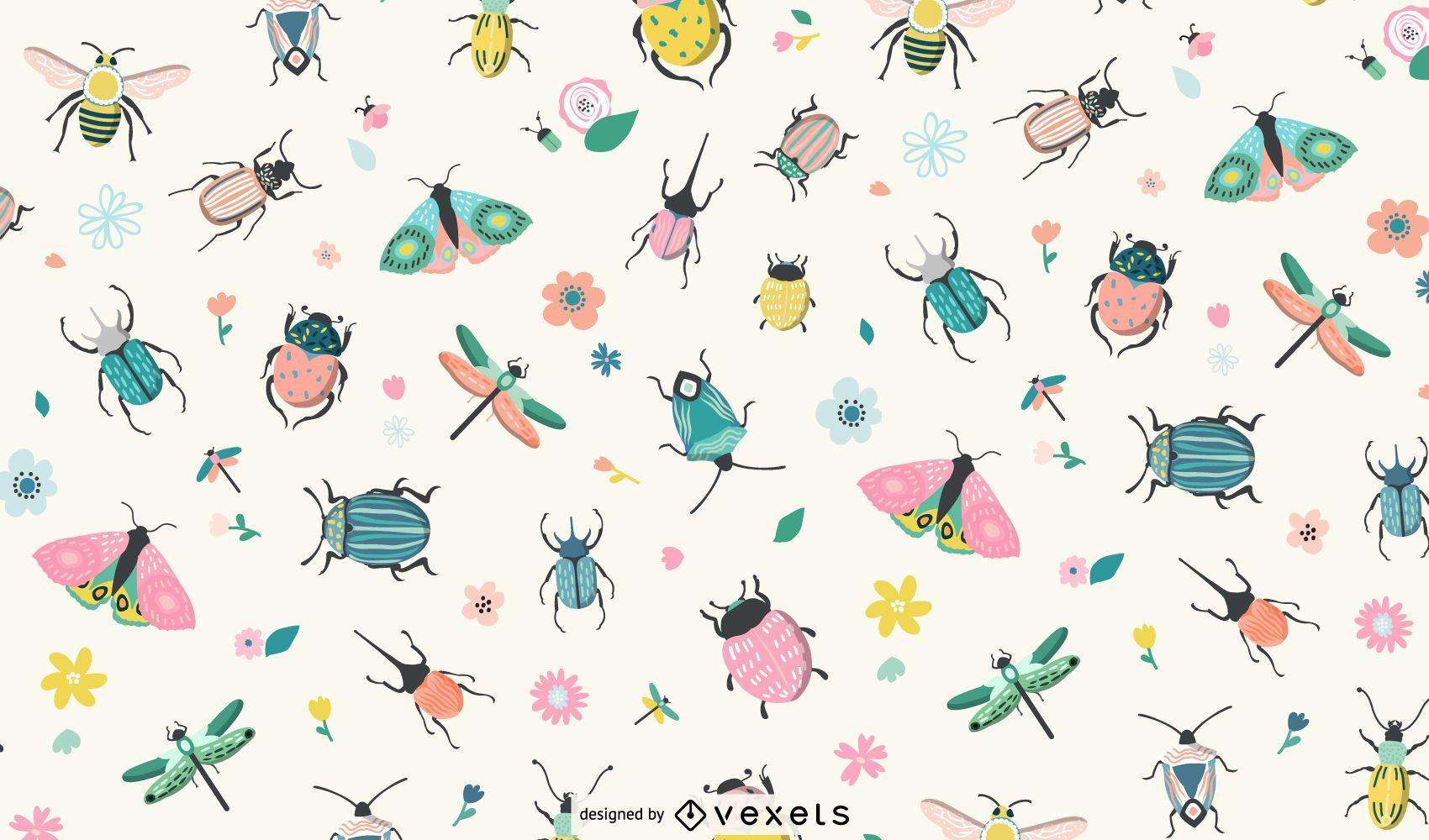 Diseño de patrón de insectos de primavera
