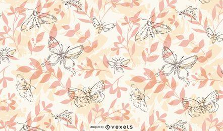 Padrão desenhado à mão de insetos da primavera