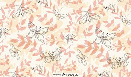 Spring insects hand drawn pattern