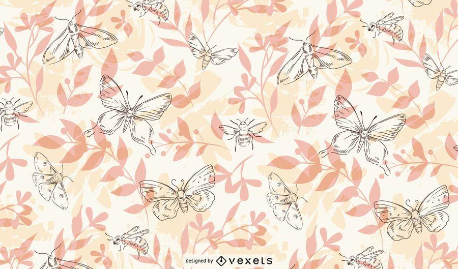 Patrón dibujado a mano de insectos de primavera